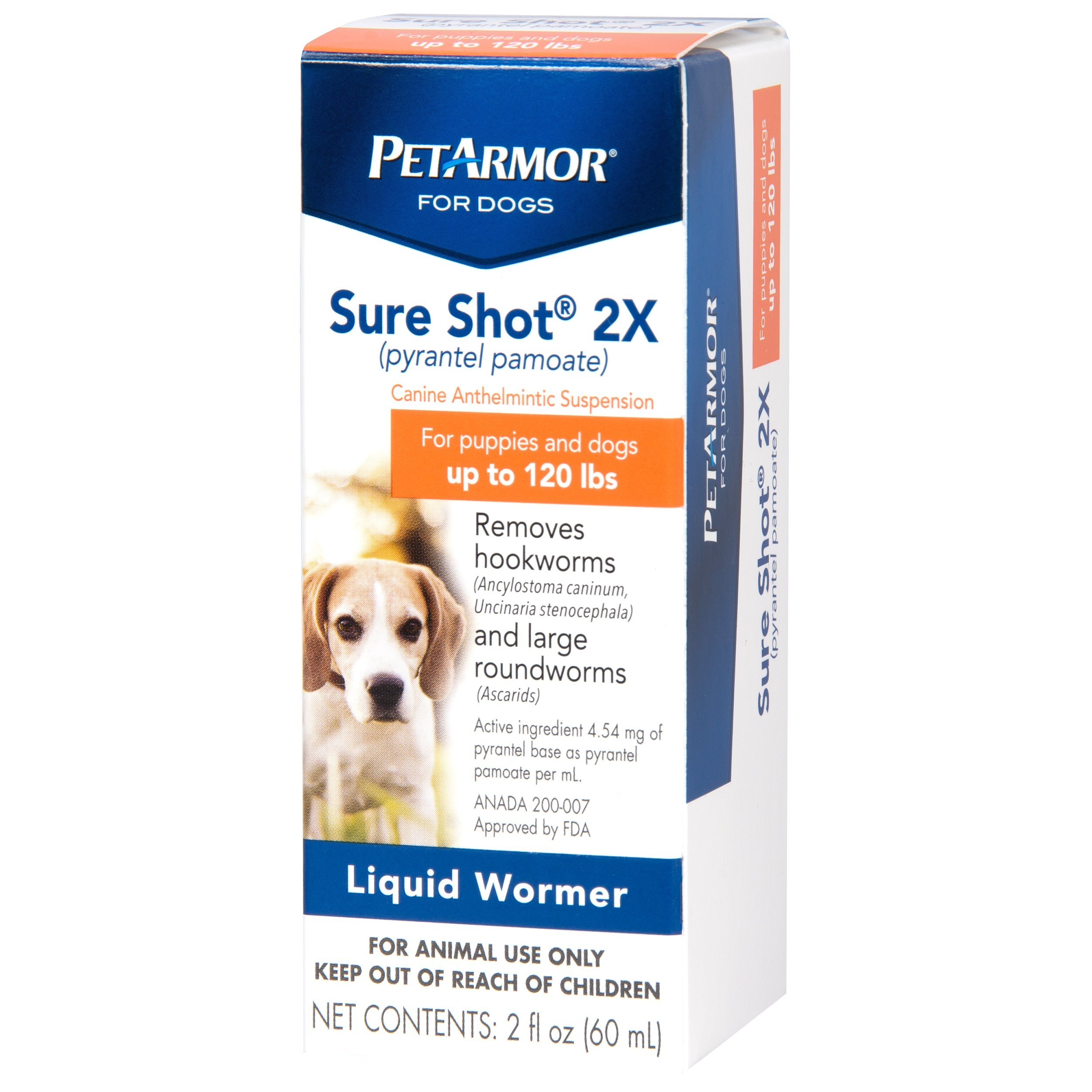 PETARMOR Sure Shot 2X (pyrantel pamoate) Liquid De-wormer for Dogs, 2 Fluid Ounces by PETARMOR