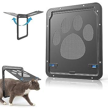 29cm Porta di Gatto Cane Pet Dog Cat Schermo Porta JCT 24 Blocco Automatico Porta con Serratura Cat Screen Door Porta Blocco Automatico S, Black