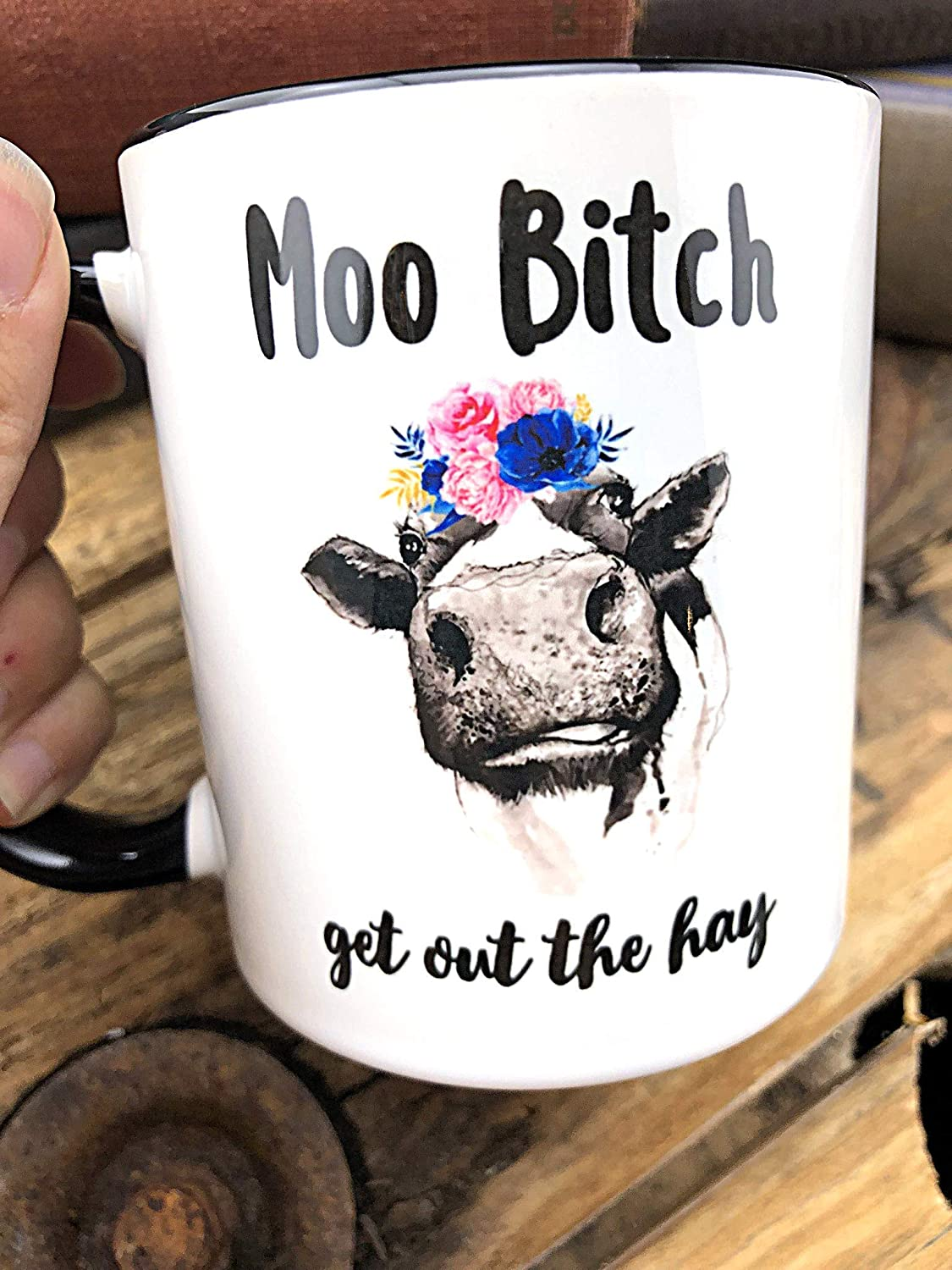 Ceramic Present for Music Lover Floral Crown Animal Novelty Item Gift for Friend 11 oz Moo Bitch Get Out the Hay Cow Mug
