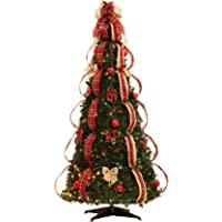 brylanehome flat to fabulous fully decorated pre lit 6 ft - Pre Lit Christmas Trees Amazon