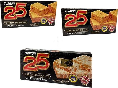 Turron25 - Pack incluye 2 Turron de Jijona y 1 Turron de Alicante - Calidad suprema 200gr: Amazon.es: Alimentación y bebidas