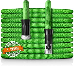"""HooSeen Expandable Garden Hose, 75ft Flexible Kink-Free Water Hose with Double Latex Core, 3/4"""" Solid Nickel Plating Fitting and Shut Off Valve (75FT, Green)"""