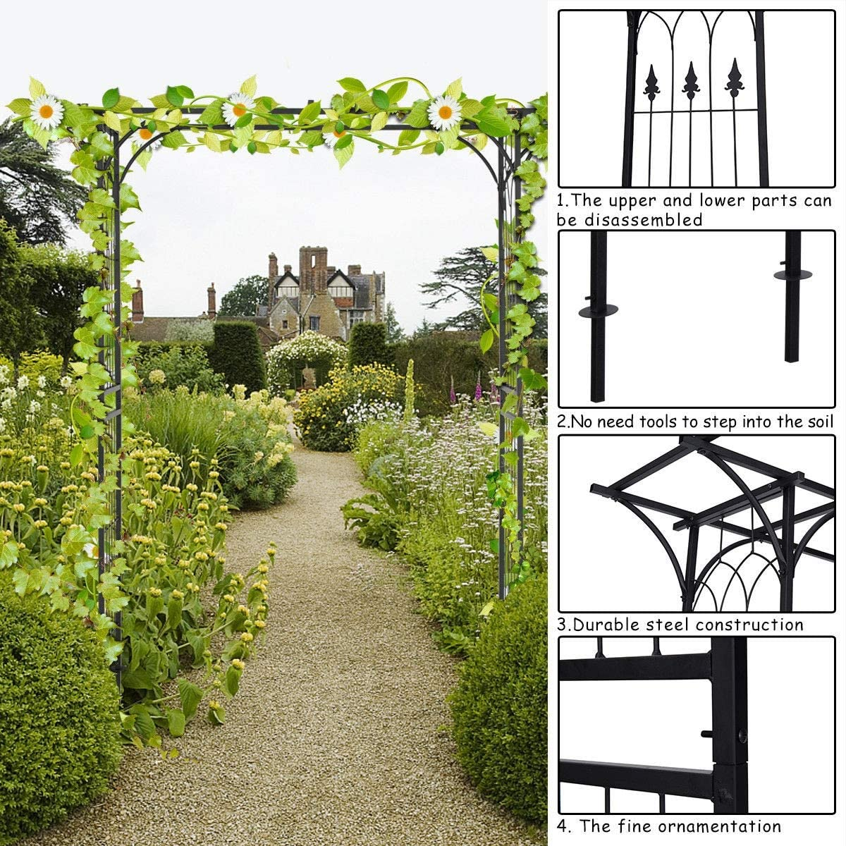 King77777 New Useful Charming Pergola Archway Garden Wedding Rose Arch Accent Decoration Display Stand