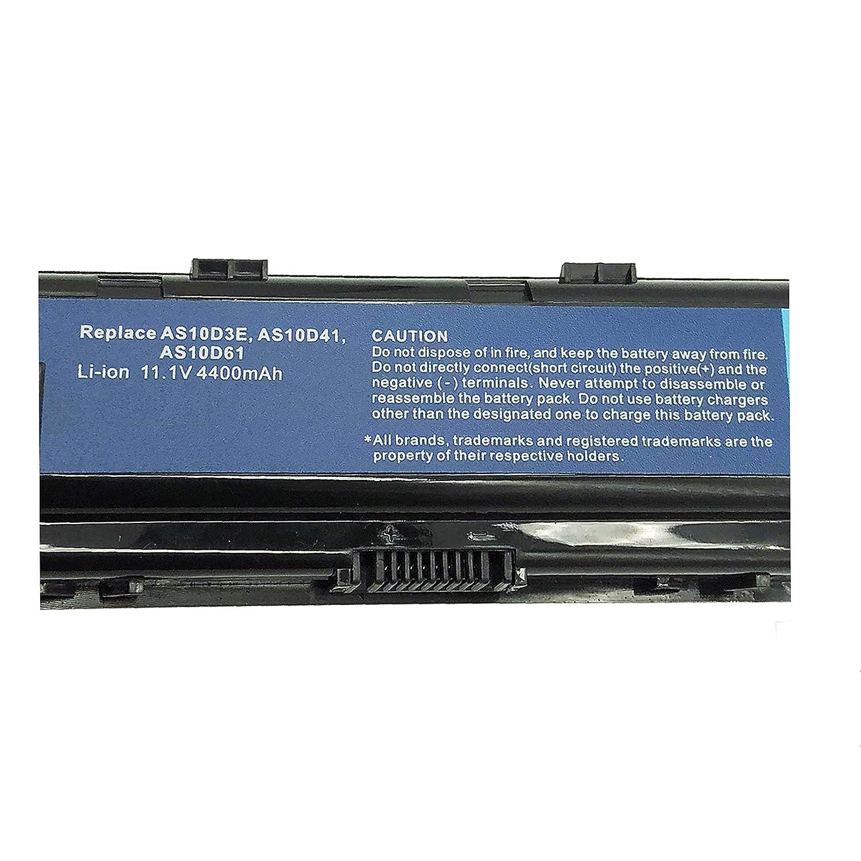 Sustituye a bater/ía de port/átil AS10D3E AS10D31 AS10D41 AS10D61 AS10D71 AS10D81 para Acer Aspire 4250G 4350G 5741G//TravelMate//Emachines//Packard Bell Series【11,1 V 4400 mAh】