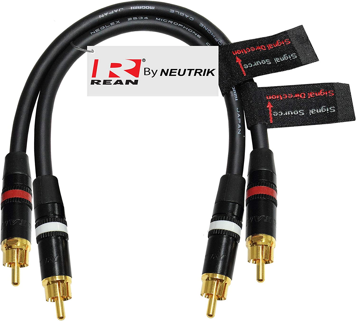 using Mogami 2534 wire and Neutrik-Rean NYS Gold RCA Connectors Directional Quad High-Definition Audio Interconnect Cable Pair CUSTOM MADE By WORLDS BEST CABLES 0.5 Foot