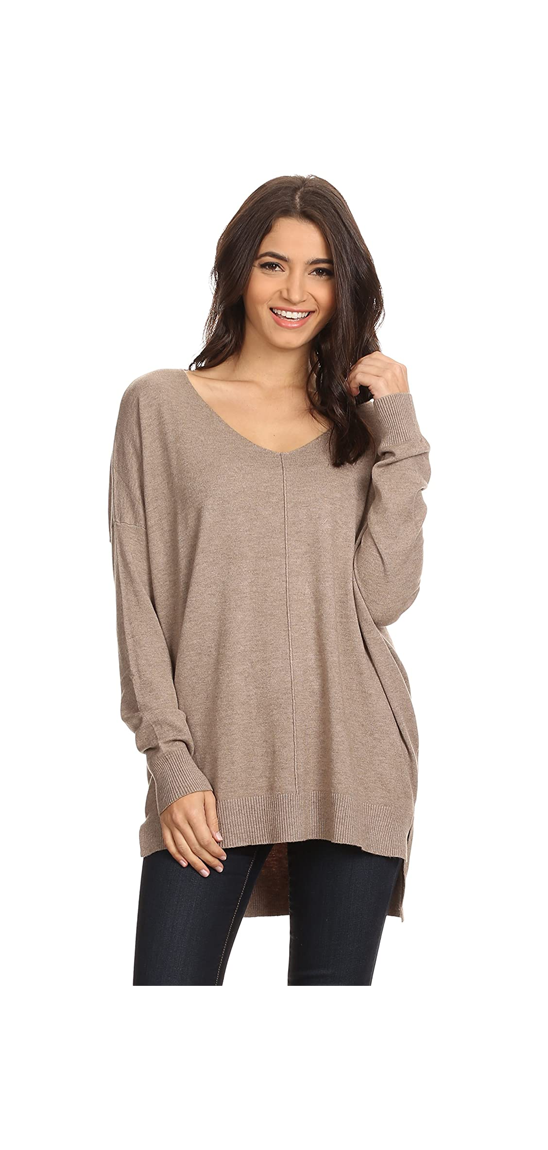 Ad Women's Oversized Extra Soft V-neck Pullover Sweater Long