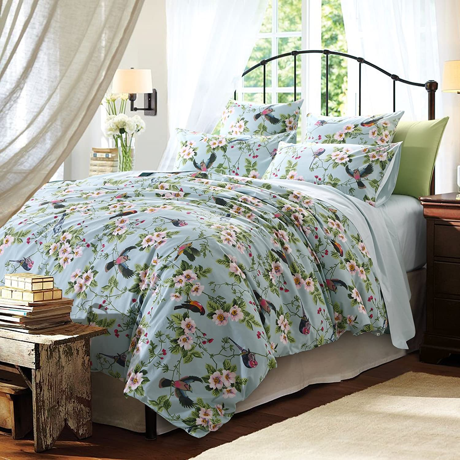 Brandream Floral Bedding Set Pastoral Style Duvet Cover Set with Colorful Flowers and Birds 3pcs Bedding