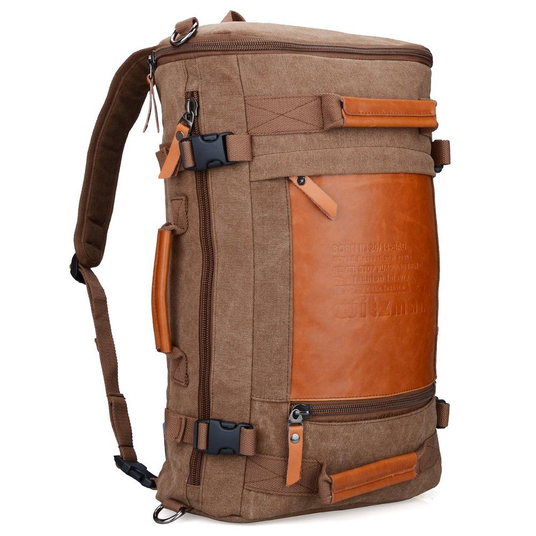 WITZMAN Men Vintage Canvas Rucksack Travel Duffel Backpack Retro Hiking Bag 2063 (22inch Brown)