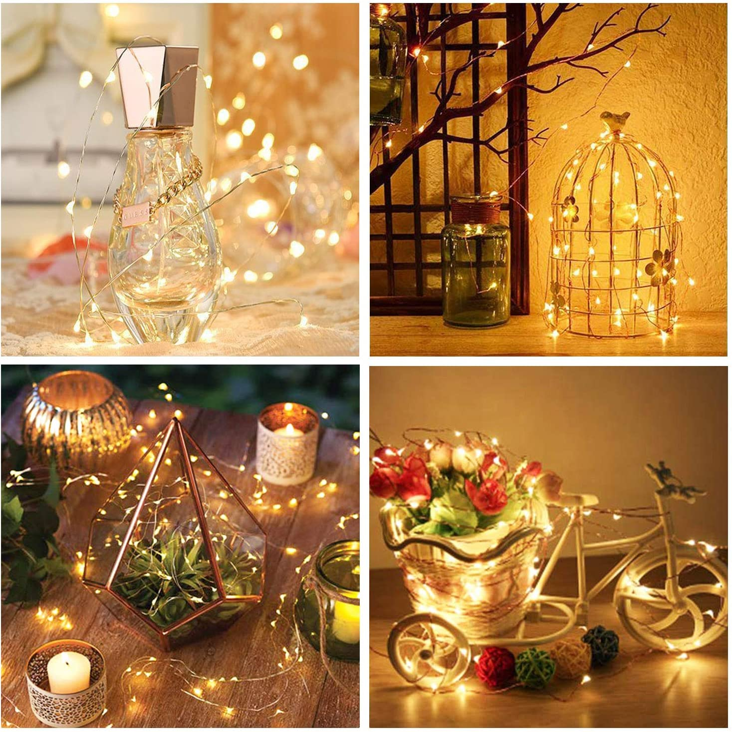 Blue 100 LED Waterproof Fairy String Decorative Copper Wire Lights for Wedding Bedroom Christmas HONGM Solar String Lights Outdoor Patio Party 2Pack
