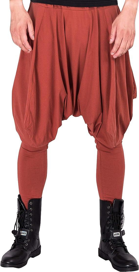 Mens Cotton Linen Harem Pants Shorts Baggy Yoga Cropped Trousers Loose Fit New D