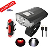 utair Usb Bike Bicycle Light Set Rechargeable Head And Tail Cycling Lamp Front Back Safety Warning Lights (Frontlight&taillight)