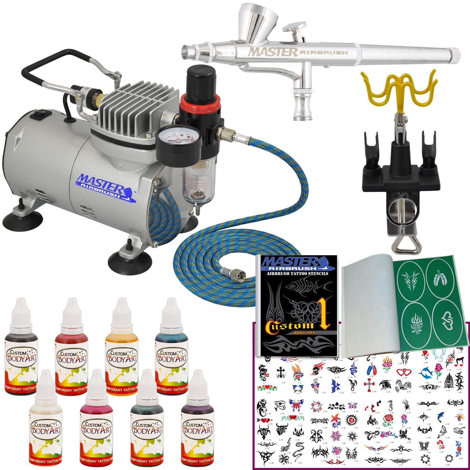Master Airbrush Brand Deluxe Airbrush Tattoo KIT 8 Includes: Compressor, Hose, Airbrush, 8 Popular INK Colors, and Stencils