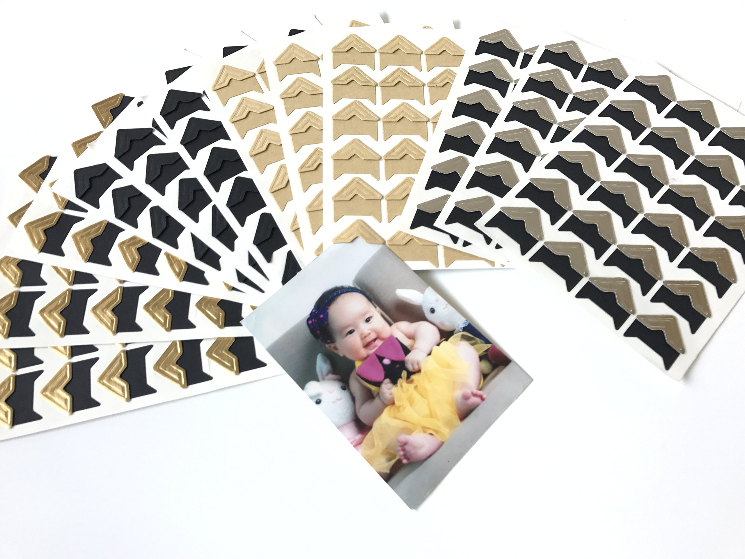 VEEPPO 288pcs 4Colors Photo Mounting Corners Self Adhesive Paper for Photo Book Scrapbook (Mixed 4 Colors)