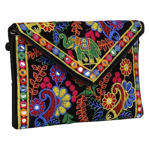 52d37c847e15 Fressia Rajasthani jaipur Indian Bohemian art Sling Bag Foldover Clutch  Purse