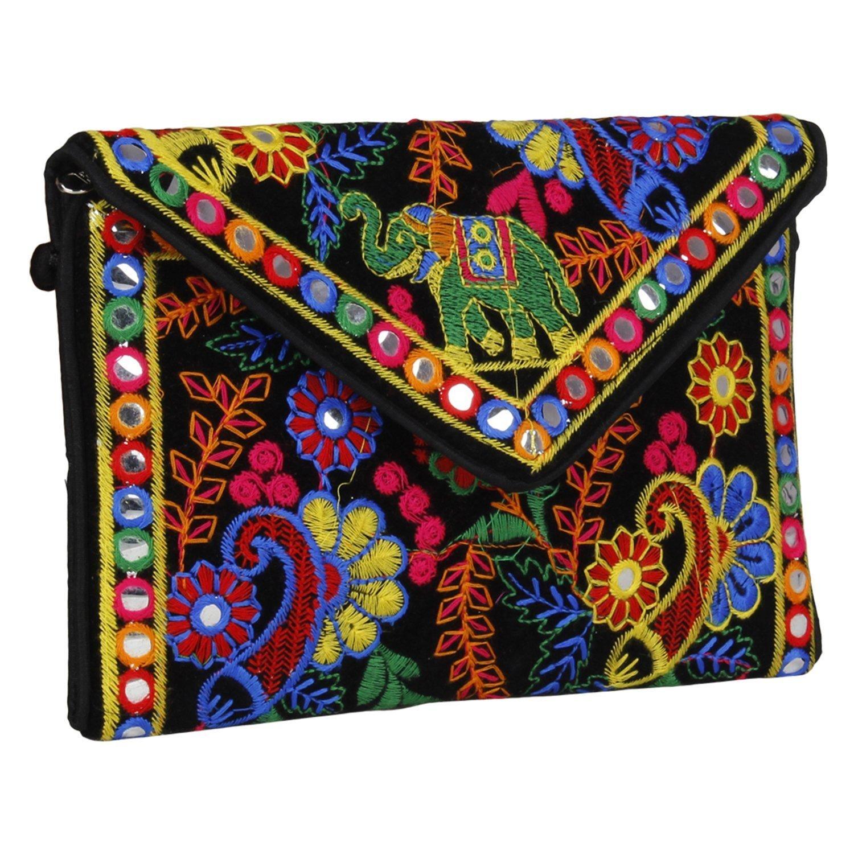 Rajasthani Jaipur Indian Handmade Potli Vintage Tribal Banjara Bohemian Clutch handbags (black1)