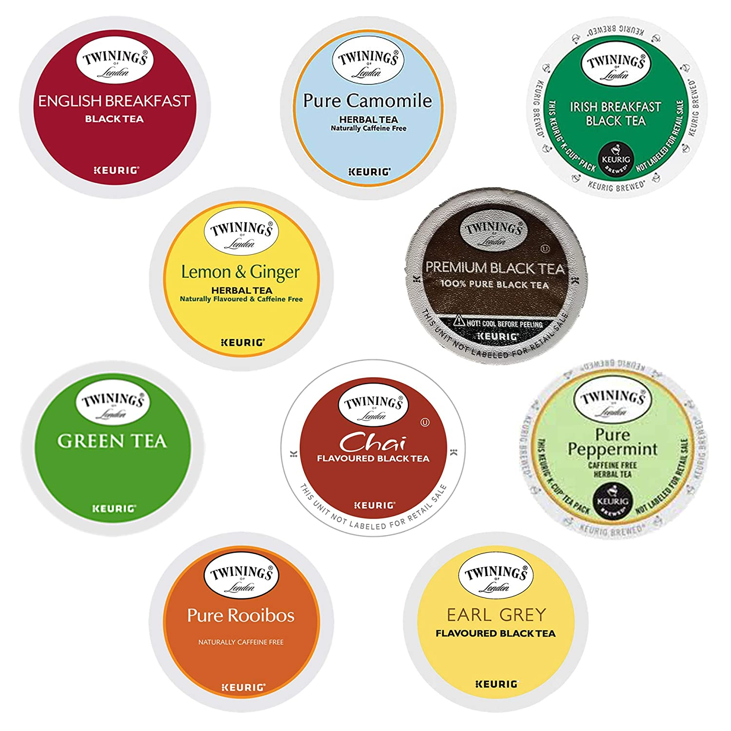TWININGS K CUPS Tea Sampler Box - 10 Flavors ( 30 COUNT ) Variety Sampler Pack for Keurig K-Cup Brewers - Twinings English, Black, Green, Chai, Herbal Tea and more - Gift for Tea Lovers