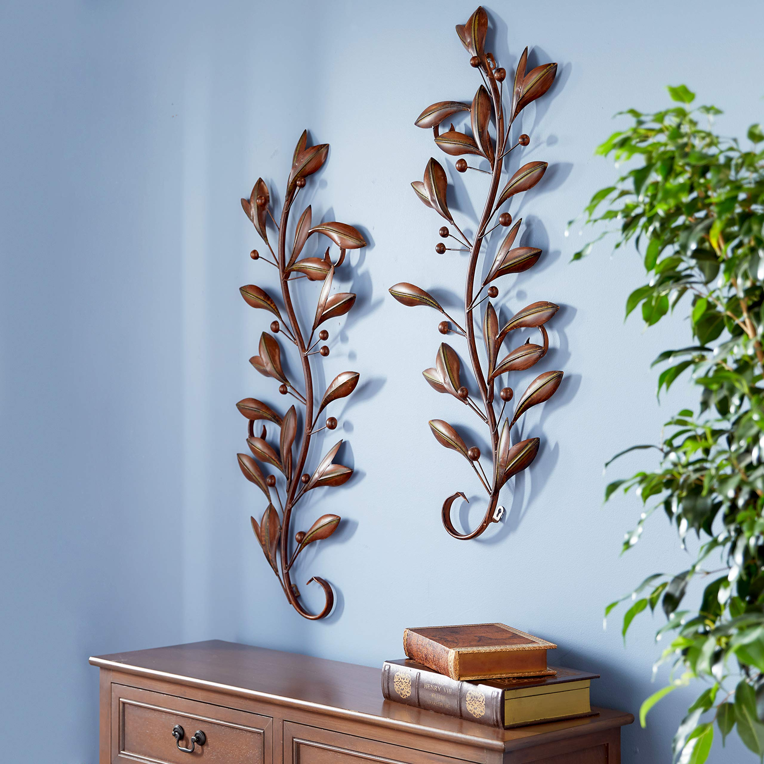 Deco 79 63048 Loft Nature Metal Leaf Wall Decor, 14 by 36-Inch, Antique Brown/Black, Sold in Pairs