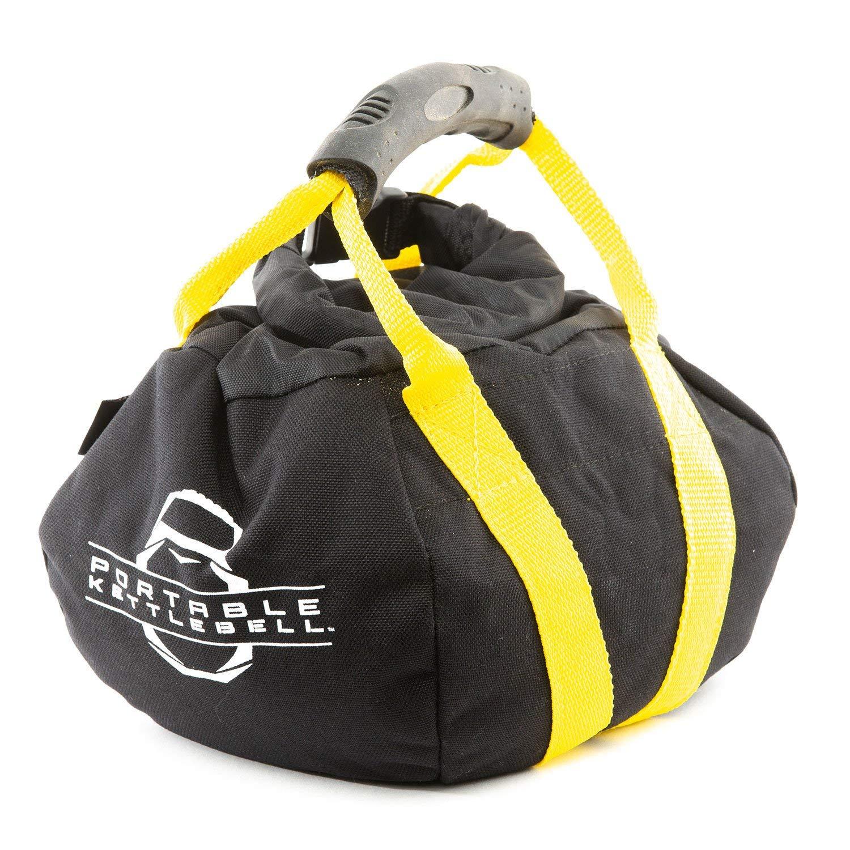 PKB PORTABLE KETTLEBELLS 0-15 lbs: The Original Sandbag Kettlebell - Crossfit, Travel, Yoga, Home Workout Sandbag Training Equipment Fully Adjustable Kettlebell Weights - Yellow 15lbs