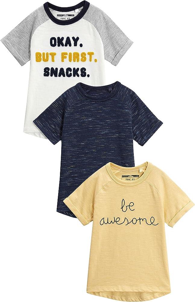 next Niños Pack De Tres Camisetas De Mangas Cortas Raglán con Eslogan (3 Meses - 6 Años) Amarillo/Azul Marino/Crudo 5-6 años: Amazon.es: Ropa y accesorios