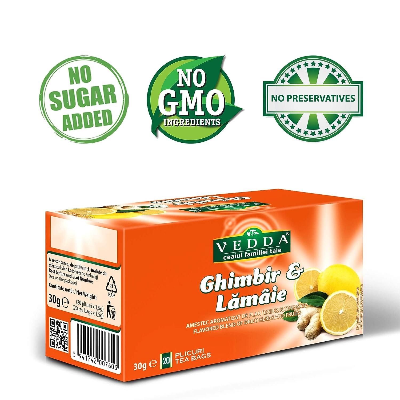 Vedda, Té Jengibre y Limón (80 Tazas de Té) Ginger and Lemon ...