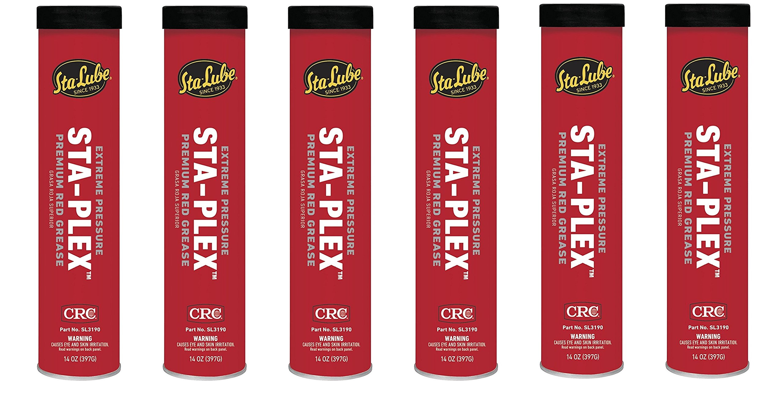 CRC SL3190 Sta-Plex Extreme Pressure Premium Red Grease, 14oz Cartridge (6)