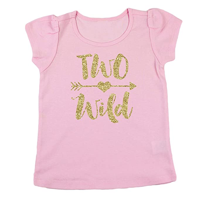 Olive Loves Apple Two Wild 2nd Birthday Shirt Girl Glitter Gold Outfit