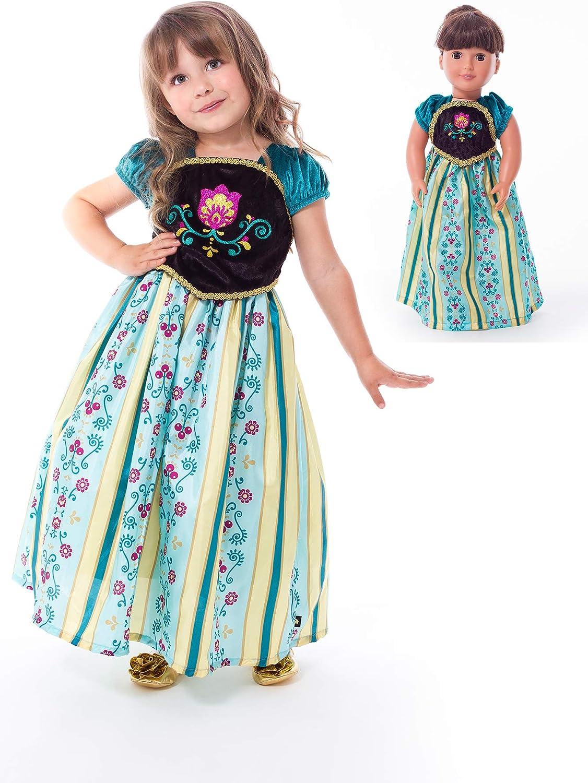 Age 7-9 Little Adventures Scandinavian Coronation Princess Dress Up Costume /& Matching Doll Dress X-Large