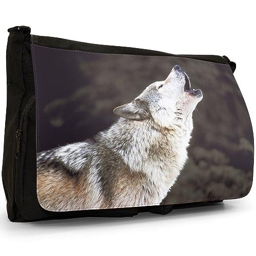 3a5be4d66a Borsa a tracolla grande con immagine di lupo, in tela, per scuola o computer