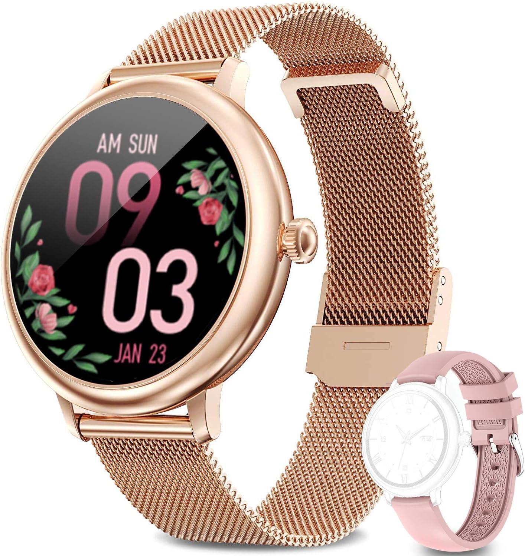 LIEBIG Smartwatch Mujer,Relojes Inteligentes Mujer IP67 con Ciclo Menstrual Femenino Pulsómetros Podómetro Cronómetros Monitor de Sueño Pulsera Actividad Inteligente para Android iOS (Dorado)
