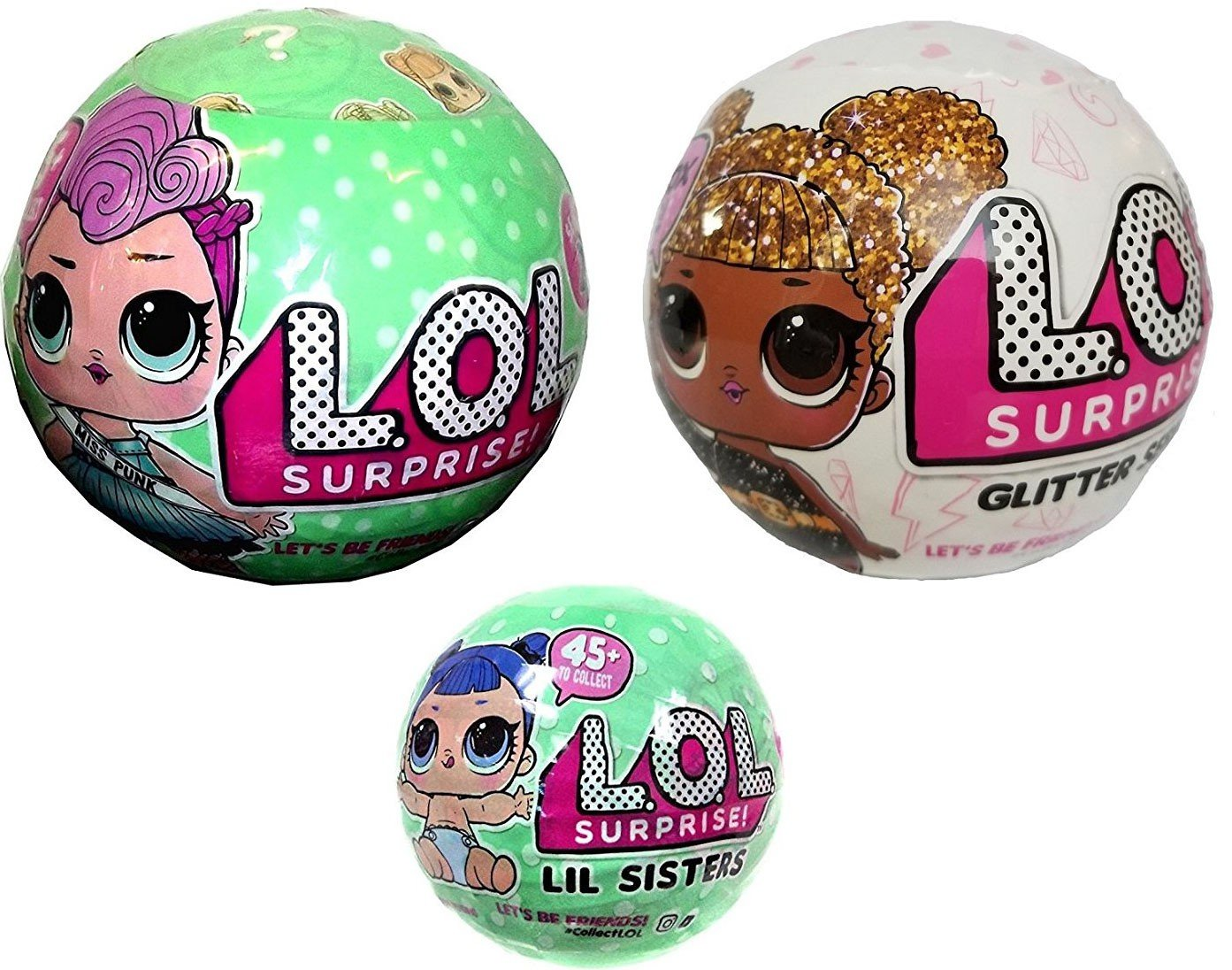 Bundle Lets Be Friends! Miss Punk, Her Lil Sister and Glitter Series - 3 LOL Surprise Dolls