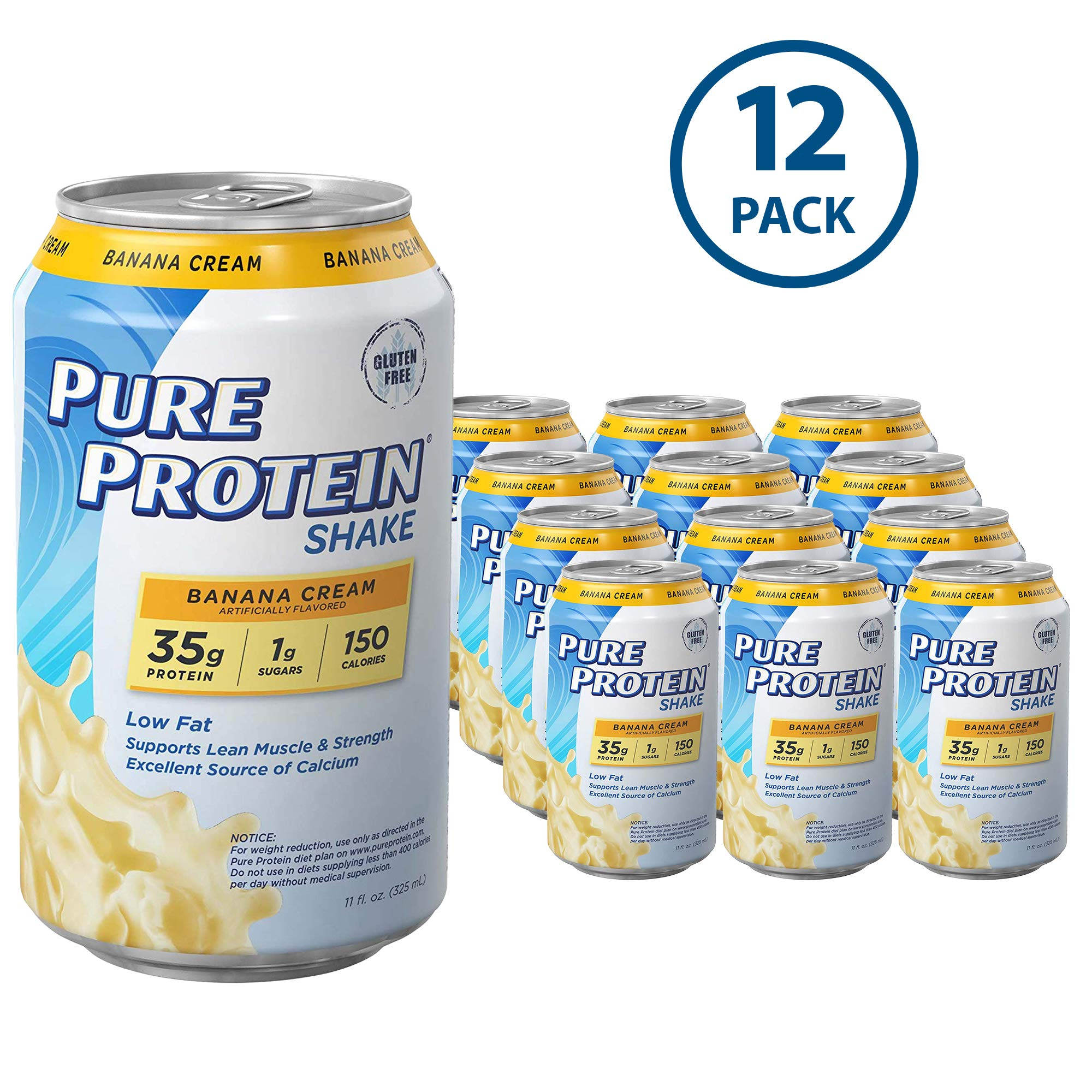 Pure Protein Ready to Drink Shakes, High Protein Banana Cream, 11oz, 12 count by Pure Protein