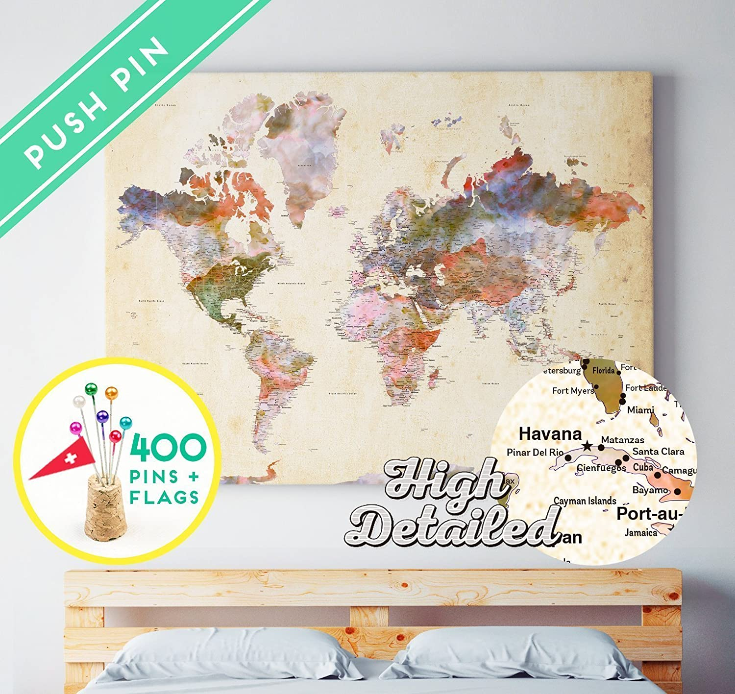 Amazon.com: Push Pin World Map CANVAS - Ready To Hang - 400 pins + on