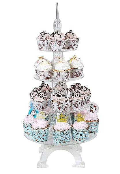Amazon.com: Acrylic Cupcake Tower Stand Eiffel Tower Wedding Party ...