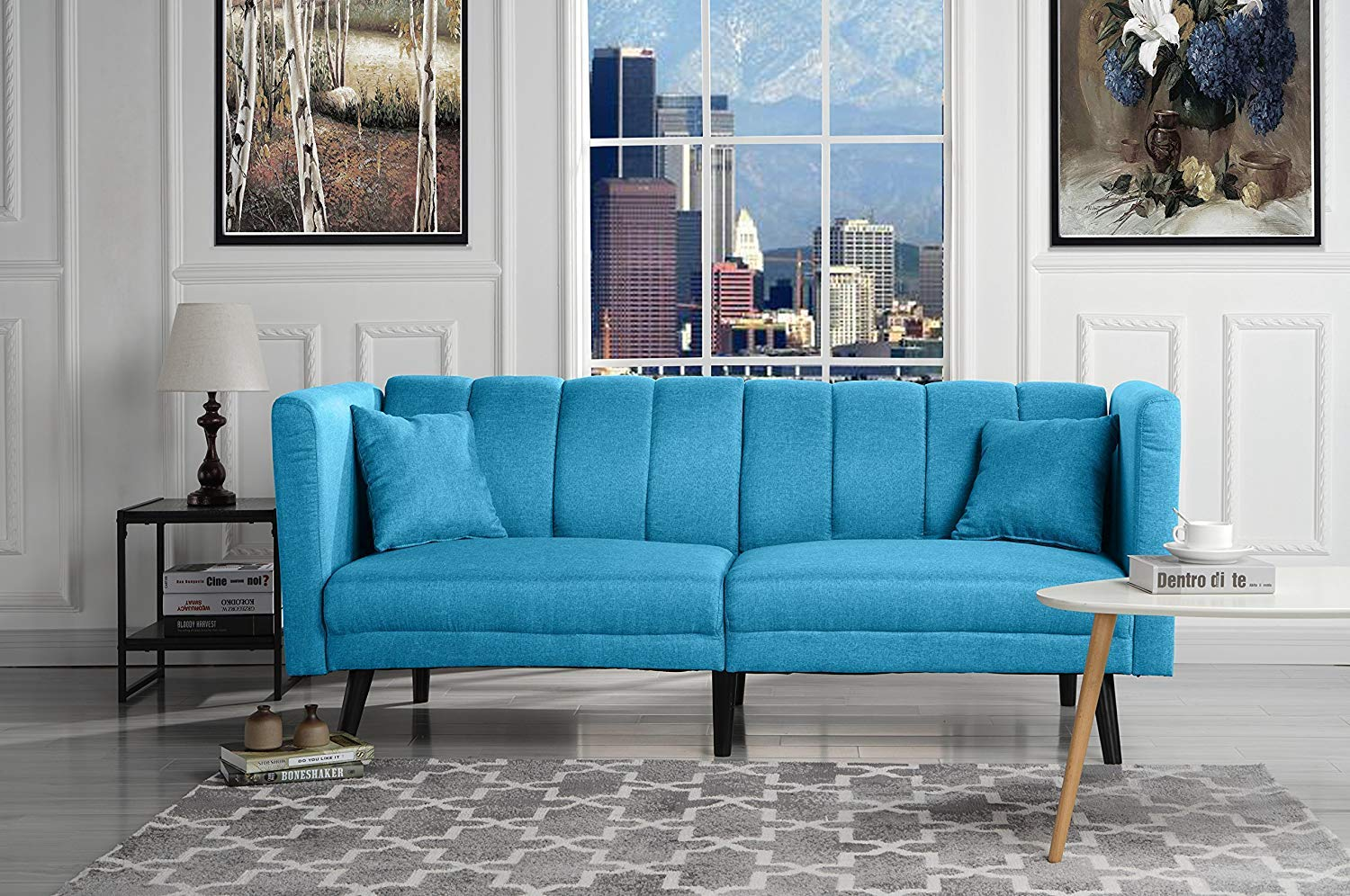 Blue Futon Sleeper Sofa Bed Couch, Convertible Futon Splitback Sofa Loveseat, Modern (Futon Sofa Beds) Lounger Futon Furniture | Sofas & Couches for Small Space Living Room, Home (Light Blue) by Casa AndreaMilano
