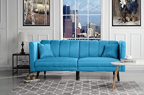 Amazon.com: Blue Futon Sleeper Sofa Bed Couch, Convertible ...