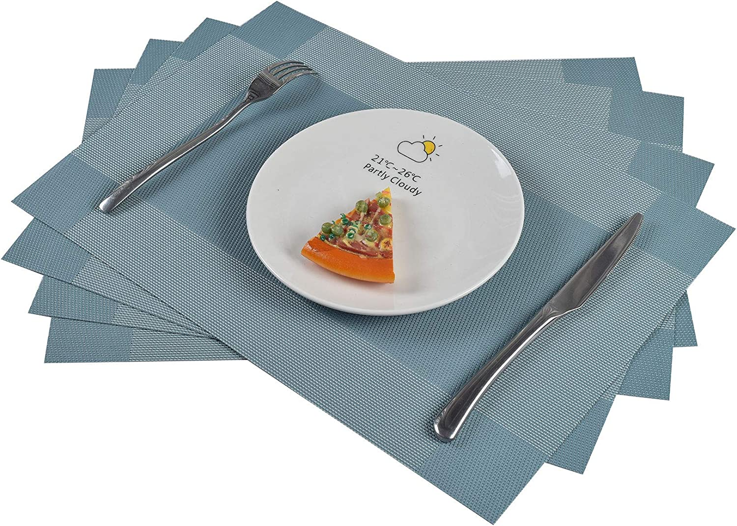 famibay PVC Placemats Set of 6 Heat Resistant Vinyl Cross Weave Place Mats Washable Kitchen Table Placemats Set of 4(Teal)