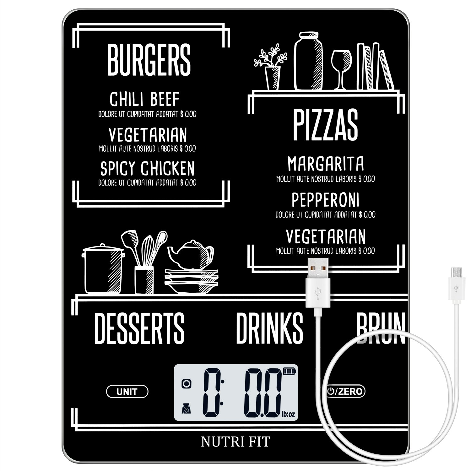 Rechargeable Digital Kitchen Scale Multifunction Food Scale with Dough Scraper by NUTRI FIT, Portable and Tare Function, 11lb/5kg Baking & Cooking Scale, Black