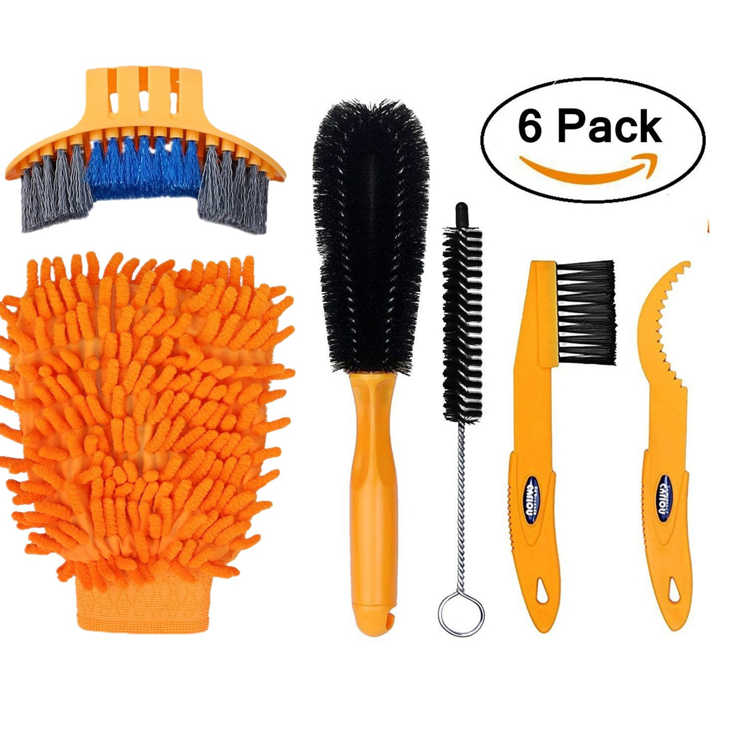 DOCA Bike Cleaning Brush Tool Kit Set - 6 Pack Bicycle Chain Cleaner Cycling Clean Tire Brushes for Mountain,Road,City,Hybrid,BMX Bike and Folding Bike
