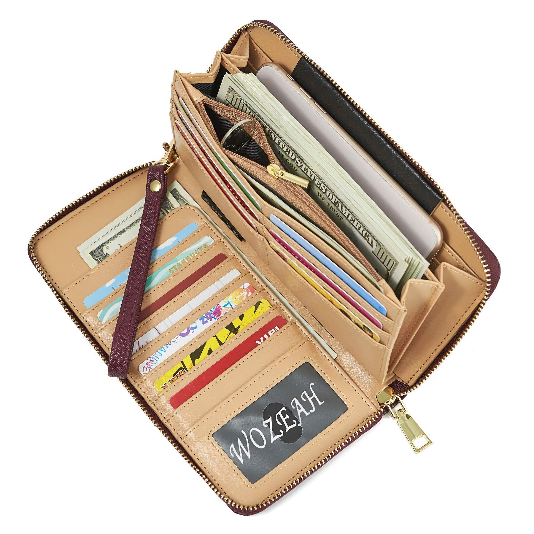 WOZEAH Women's RFID Blocking PU Leather Zip Around Wallet Clutch Large Travel Purse (wine red)