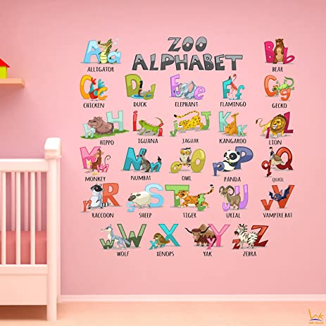 Alphabet Wall Decals Sticker   WK Home, 26 Animals Alphabet Peel And Stick  Wall Art