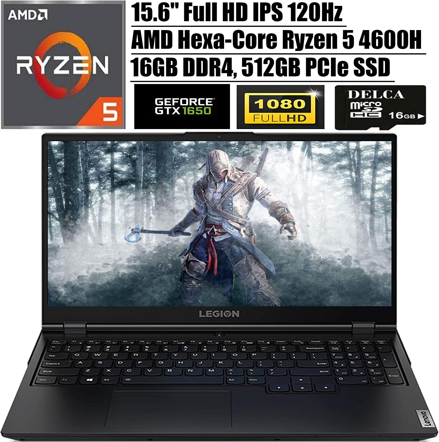"Lenovo Legion 5 2020 Newest Gaming Laptop I 15.6"" FHD IPS 120Hz I AMD 6-Core Ryzen 5 4600H (> i7-9750H) I 16GB DDR4 512GB PCIe SSD I NVIDIA GTX 1650 Backlit KB USB-C Win 10 + Delca 16GB Micro SD Card"