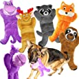 Jalousie 5 Pack 12'' Dog Toys Assortment Value Bundle Dog Plush Toys Dog Squeak Toys12 Inch Each Dog Squeaky Toys Assortment for Medium to Large Breeds - Include Raccoon Elk Hippo Fox Sloth