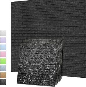 Sodeno 3D Wall Panels, 10 Pack 3D Brick Self-Adhesive Waterproof PE Foam Wallpaper for Interior Wall Tile Decor, TV Wall,Bathroom, Living Room Home Decoration- 39 Sq Ft (Black)
