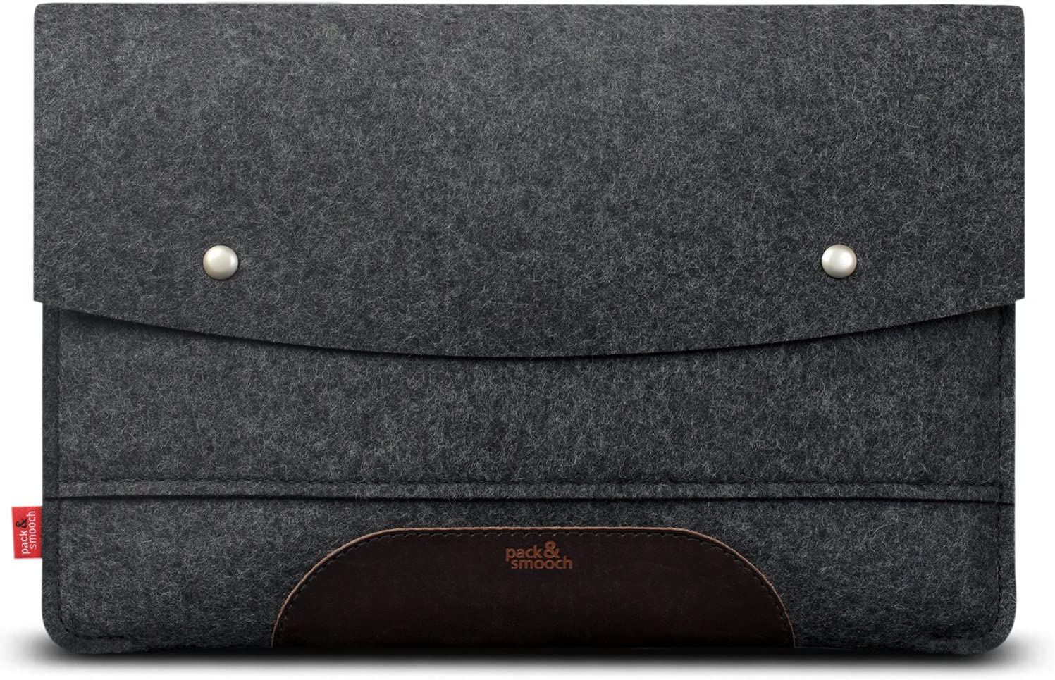 "Pack & Smooch for iPad Pro 11"" / Air 10.9"" with Magic Keyboard Case Sleeve Cover - 100% Wool Felt and Vegetable Tanned Leather - Dark Gray/Dark Brown"