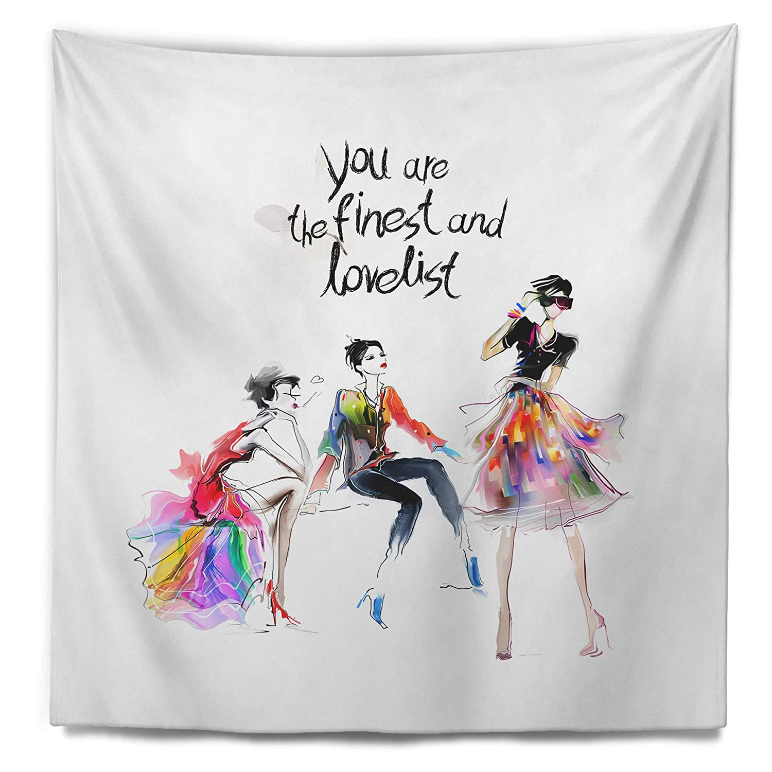 32 in Created On Lightweight Polyester Fabric Designart TAP8237-32-39  Three Pretty Fashion Girls Abstract Portrait Blanket D/écor Art for Home and Office Wall Tapestry Medium x 39 in