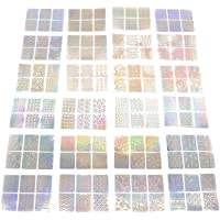 HUELE 144 Pcs Cute Nail Vinyls Stencils Stickers Nail Art Design 24 Sheets 72 Designs