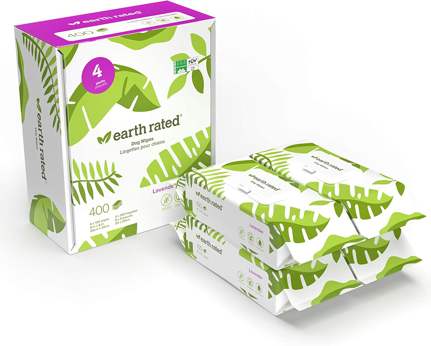 Earth Rated Dog Wipes, Plant-Based and Compostable Wipes for Dogs & Cats, USDA-Certified 99 Percent Biobased, Hypoallergenic, 8x8 Deodorizing Grooming Pet Wipes for Paws, Body and Butt