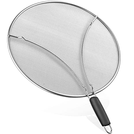 Home & Kitchen Splatter Screen Easy Clean Oil Resist Round Guard Home Kitchen Mesh Frying Pan Black Durable Protective Multifunctional Pot Cover