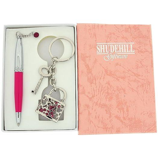 Candado y llave rosa y cristal de plata conjunto pluma con ...
