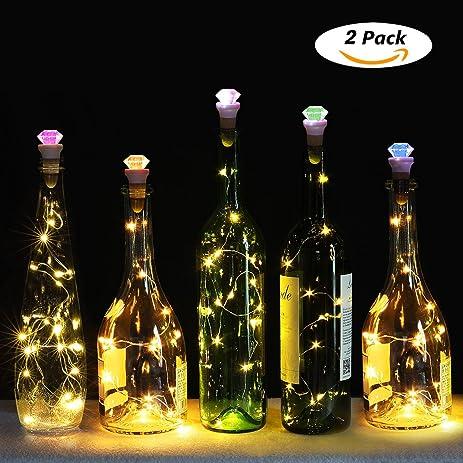 Wine Bottle Cork Lights,[ USB Rechargeable ] Genround Diamond Shape Of Wine  Cork Lights